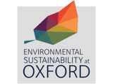 Sustainability logo - multicoloured leaf with wording. Environmental Sustainability at Oxford